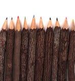 Barke abgedeckte farbige Bleistifte Lizenzfreie Stockfotografie