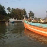 Barke in Goa, Baga-Strand Stockbilder
