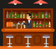 Barkeeper Character Symbol de café de restaurant de barre de bar illustration stock