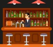 Barkeeper Character Symbol del café del restaurante de la barra del Pub Imagenes de archivo
