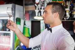Barkeeper checking a wine glass. After cleaning royalty free stock photo
