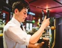 Barkeeper holding beer glass below dispenser tap. At bar counter stock photos