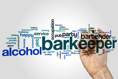 Barkeeper word cloud concept on grey background.  royalty free stock image