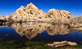 Barker Dam. Reflections at Barker Dam in Joshua Tree National Park, California stock photo