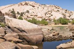 Barker Dam. During a dry hot summer, Joshua Tree National Park, California stock photo