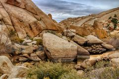 Barker Dam in Joshua Tree. Beautiful layers of rock in a old man made dam in Joshua Tree Stock Image