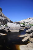 Barker Dam Joshua Tree national park. Rock formations and water within the arid desert ecosystem on the barker dam Trail within Joshua Tree national Park in stock photos