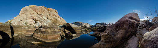 Barker Dam Panorama. Shows the effects of a dry period in a California desert royalty free stock photos