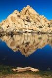 Barker Dam Reflections. Barker Dam landscape in Joshua Tree National Park, California stock photos