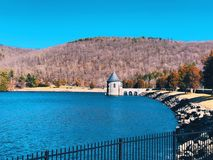 Barkhamsted Reservoir in Saville Dam. In Connecticut near Farmington River United States Stock Photography