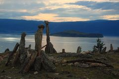 Barkhan cape, the lake Baikal Stock Photos