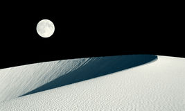 Barkhan dune and full moon collage Stock Photo