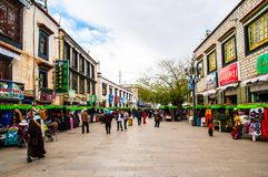 Barkhor Street in Lhasa, Tibet. Stock Images