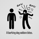 A Barking Dog Seldom Bites. A motivational and inspirational poster representing the proverb sayings, A Barking Dog Seldom Bites with simple human pictogram Stock Photos
