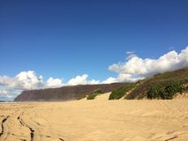 Barking Sands Beach at Polihale State Park on Kauai Island. Royalty Free Stock Photo