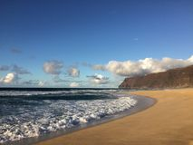 Barking Sands Beach at Polihale State Park on Kauai Island, Hawaii. Royalty Free Stock Photo