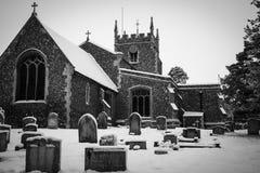 Barkway-Kirche im Schnee lizenzfreie stockfotografie