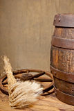 Barley and barrel Royalty Free Stock Photography
