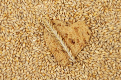 Barley and bread heart Stock Images