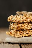 Barley granola bars in pile on rock Royalty Free Stock Photo
