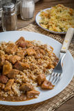 Barley groats with stewed meat. Royalty Free Stock Image