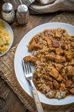 Barley groats with stewed meat. Stock Photography