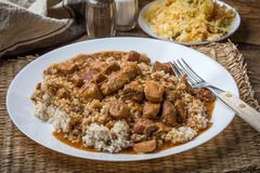 Barley groats with stewed meat. Stock Images