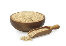 Barley groats in a wooden bowl Royalty Free Stock Photo