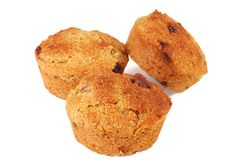 Barley Muffins. Three freshly baked barley muffins with a few chocolate chips stock photo