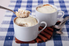Barley porridge, baked with cottage cheese and sour cream Stock Photo