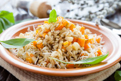 Barley porridge on a plate useful for health Stock Photo
