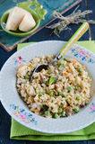 Barley porridge. Stewed with vegetables and mushrooms Royalty Free Stock Photography