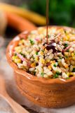 Barley salad. With pumpkin seed oil stock photos