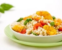 Barley salad with spicy prawns Stock Photography