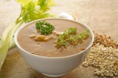 Barley soup. On bowl on wood background Royalty Free Stock Image