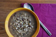 Barley soup with mixed beans Stock Photo
