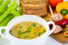 Barley Soup with Olives and Peppers Stock Photography