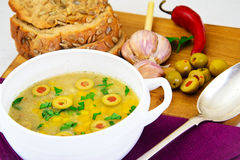 Barley Soup with Olives and Peppers Royalty Free Stock Photos