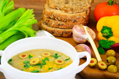 Barley Soup with Olives and Peppers Royalty Free Stock Photo