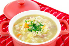 Barley soup, pearl barley Stock Photos