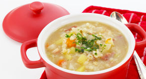 Barley soup, pearl barley Stock Photo