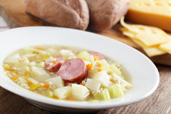 Barley soup with sausage Stock Images