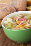 Barley soup with sausage Stock Photography