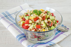 Barley and vegetables summer salad Stock Images