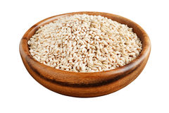 Barley in a wooden bowl Royalty Free Stock Photo