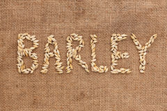 Barley word written on sackcloth Royalty Free Stock Images