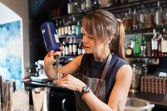 Barmaid при шейкер подготавливая коктеиль на баре Стоковое Изображение
