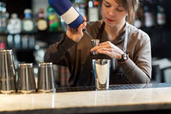 Barmaid при шейкер подготавливая коктеиль на баре Стоковое Изображение RF