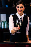 Barmaid serving a glass of wine Royalty Free Stock Images
