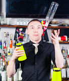 Barman in action Stock Photos